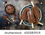 vegan banana chocolate fudge... | Shutterstock . vector #650385919