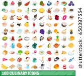 100 culinary icons set in... | Shutterstock . vector #650387554