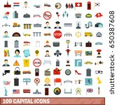 100 capital icons set in flat... | Shutterstock . vector #650387608