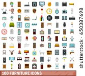 100 furniture icons set in flat ... | Shutterstock . vector #650387698