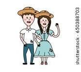 cute brazilian couple with hat... | Shutterstock .eps vector #650388703