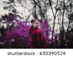 girl in plaid plaid in nature.  ...