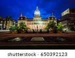 city hall at night  in downtown ... | Shutterstock . vector #650392123