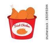 bucket of fried chicken  tasty... | Shutterstock .eps vector #650393344