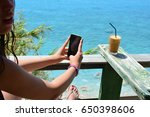young teenage girl refreshing... | Shutterstock . vector #650398606