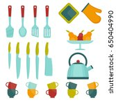 set of bright kitchen utensils. ... | Shutterstock .eps vector #650404990