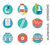 set of color medical icons.... | Shutterstock .eps vector #650406040