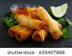 spring rolls with shrimp with...   Shutterstock . vector #650407888