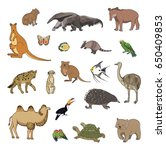 hand drawn animals vector... | Shutterstock .eps vector #650409853