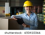 portrait of female factory... | Shutterstock . vector #650410366
