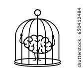 brain locked in cage. vector... | Shutterstock .eps vector #650412484