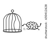 brain escaping out of the bird... | Shutterstock .eps vector #650412628
