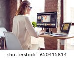smilimg blond girl is working... | Shutterstock . vector #650415814