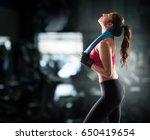 woman after gym workout | Shutterstock . vector #650419654