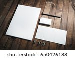 photo of blank stationery set... | Shutterstock . vector #650426188