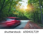 Blurred Car Going Mountain Roa...