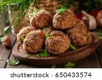 stack of baked meatballs on a... | Shutterstock . vector #650433574