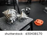 close up of dumbbells in the gym   Shutterstock . vector #650438170