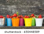 fresh strawberries in colored... | Shutterstock . vector #650448589