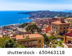 Aerial view from hilltop over Naples, Italy. View on Old Town of Naples from Castel Sant
