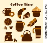 colorful set on coffee theme ... | Shutterstock .eps vector #650463193