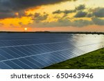 solar panels at sunrise with... | Shutterstock . vector #650463946