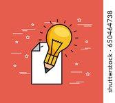pencil bulb paper illustration | Shutterstock .eps vector #650464738