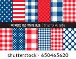 patriotic red white blue stars  ... | Shutterstock .eps vector #650465620