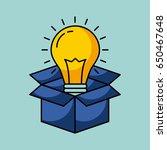 cardboard box with lightbulb...   Shutterstock .eps vector #650467648