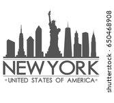 new york skyline silhouette... | Shutterstock .eps vector #650468908