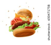 epic burger  isolated on white... | Shutterstock .eps vector #650471758