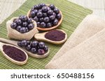 fruits and acai powder... | Shutterstock . vector #650488156