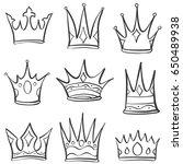 doodle crown sketch set... | Shutterstock .eps vector #650489938