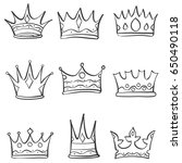 crown sketch various doodle set | Shutterstock .eps vector #650490118
