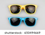 sunglasses on a gray background | Shutterstock . vector #650494669