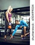 attractive blonde woman doing...   Shutterstock . vector #650499034