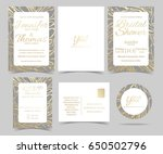 set of wedding invitation card  ... | Shutterstock .eps vector #650502796