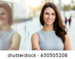 head shot of a smiling... | Shutterstock . vector #650505208