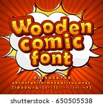colorful wooden font on comic...
