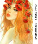 beautiful woman with flowers on ... | Shutterstock . vector #650517940