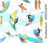 happy people on surfboard.... | Shutterstock .eps vector #650531644