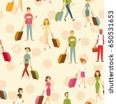 happy people with luggage.... | Shutterstock .eps vector #650531653
