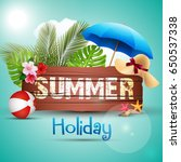 summer holiday with wooden... | Shutterstock . vector #650537338
