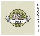 garlic vintage set of labels ... | Shutterstock .eps vector #650561320