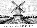 windmill landscape in vintage ... | Shutterstock .eps vector #650561716
