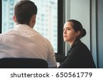 young businesswoman discussing... | Shutterstock . vector #650561779