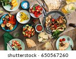shish kebab  various grilled... | Shutterstock . vector #650567260