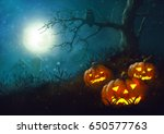 halloween pumpkin night... | Shutterstock . vector #650577763
