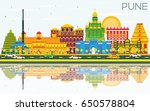 pune skyline with color... | Shutterstock . vector #650578804