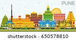pune skyline with color... | Shutterstock . vector #650578810